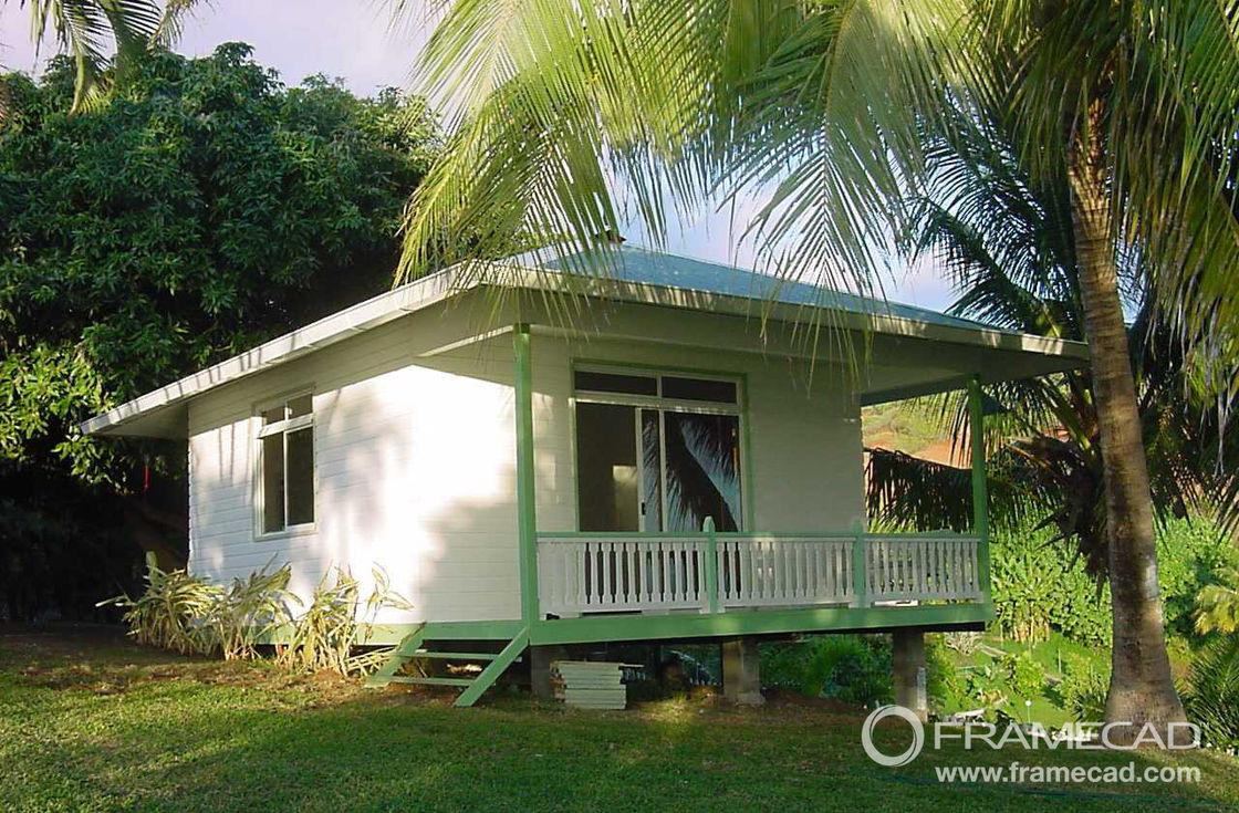 One Bedroom Steel Beach Bungalow Small Prefab House Kits Light Steel Foundation